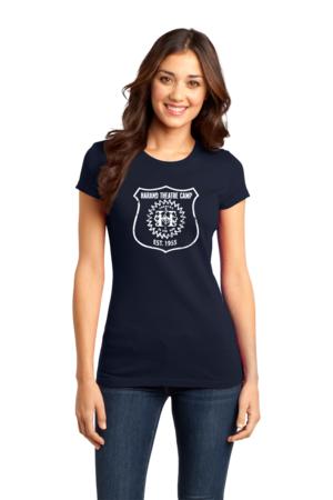 Harand Theatre Camp - Full Chest White Shield Logo Girly Navy Stock Model Front 1