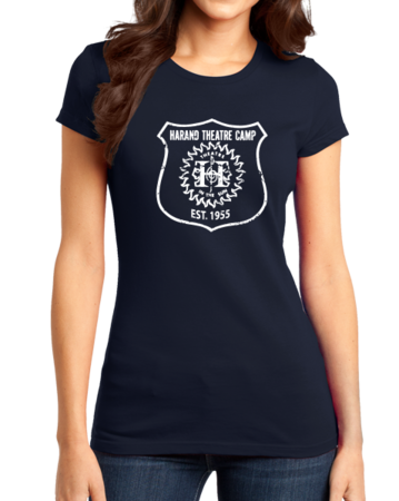 Harand Theatre Camp - Full Chest White Shield Logo Girly Navy Stock Model Front 1 Thumb