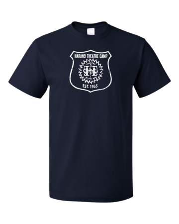 Harand Theatre Camp - Full Chest White Shield Logo Unisex Navy Blank with Depth
