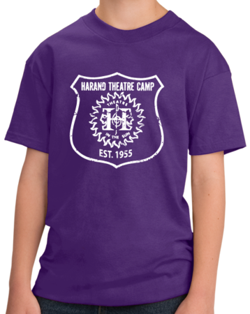 Harand Theatre Camp - Full Chest White Shield Logo Youth Purple Stock Model Front 1 Thumb