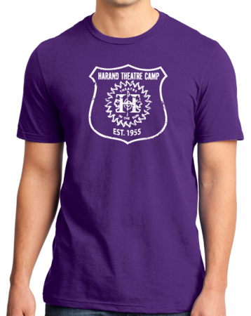 Harand Theatre Camp - Full Chest White Shield Logo Standard Purple Stock Model Front 1 Thumb