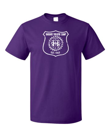 Harand Theatre Camp - Full Chest White Shield Logo Unisex Purple Blank with Depth