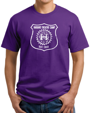 Harand Theatre Camp - Full Chest White Shield Logo Unisex Purple Stock Model Front 1 Thumb
