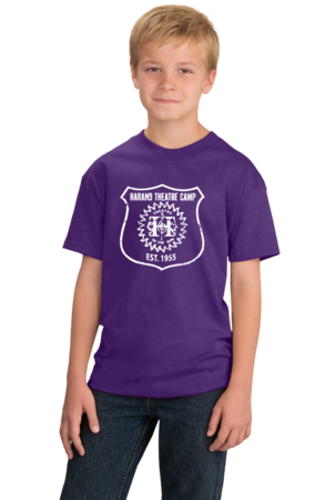 Harand Theatre Camp - Full Chest White Shield Logo Youth Purple Stock Model Front 1
