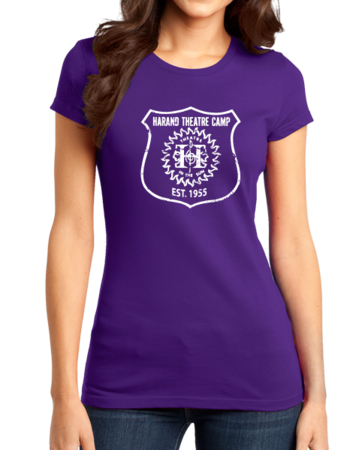 Harand Theatre Camp - Full Chest White Shield Logo Girly Purple Stock Model Front 1 Thumb