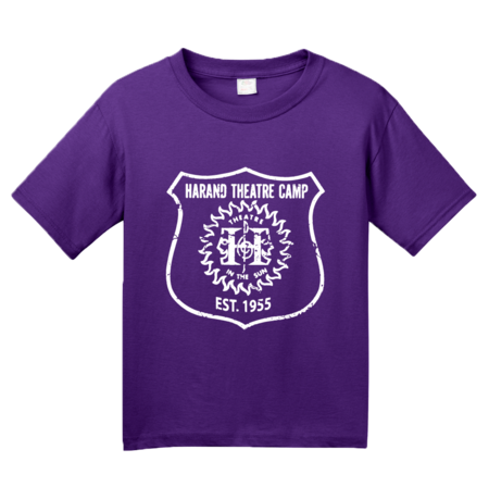 Harand Theatre Camp - Full Chest White Shield Logo Youth Purple Blank with Depth
