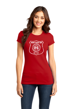Harand Theatre Camp - Full Chest White Shield Logo Girly Red Stock Model Front 1