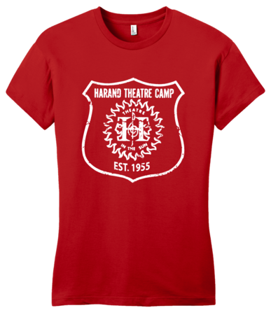 Harand Theatre Camp - Full Chest White Shield Logo Girly Red Blank with Depth