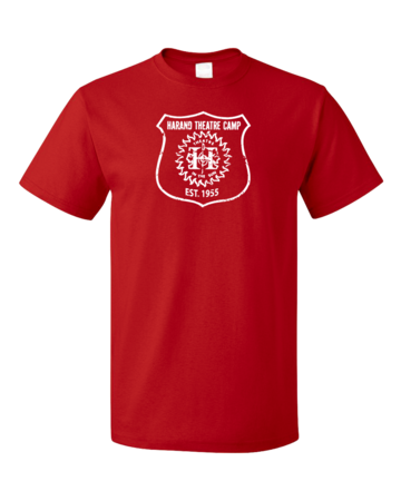 Harand Theatre Camp - Full Chest White Shield Logo Unisex Red Blank with Depth