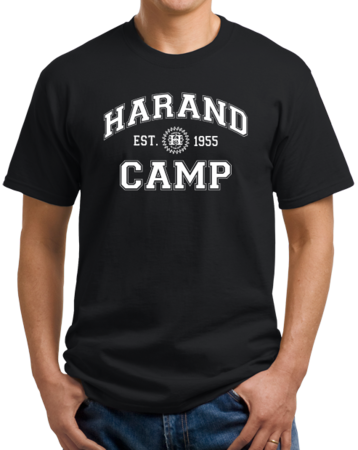 Harand Theatre Camp - Collegiate Style White Print Unisex Black Stock Model Front 1 Thumb