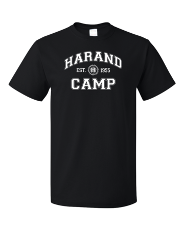 Harand Theatre Camp - Collegiate Style White Print Unisex Black Blank with Depth