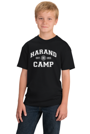 Harand Theatre Camp - Collegiate Style White Print Youth Black Stock Model Front 1