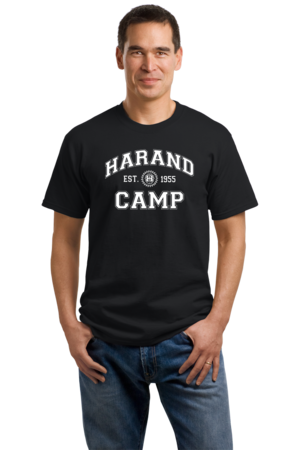 Harand Theatre Camp - Collegiate Style White Print Unisex Black Stock Model Front 1