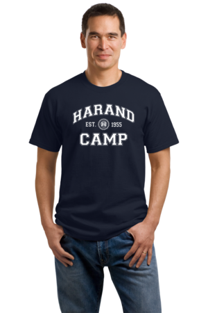 Harand Theatre Camp - Collegiate Style White Print Unisex Navy Stock Model Front 1