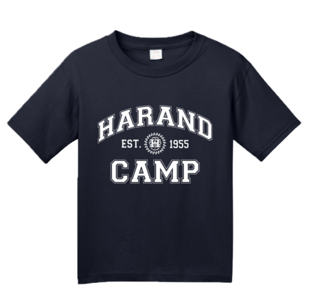 Harand Theatre Camp - Collegiate Style White Print Youth Navy Blank with Depth