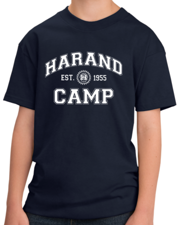 Harand Theatre Camp - Collegiate Style White Print Youth Navy Stock Model Front 1 Thumb