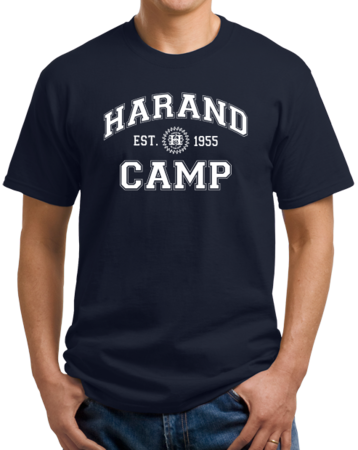 Harand Theatre Camp - Collegiate Style White Print Unisex Navy Stock Model Front 1 Thumb