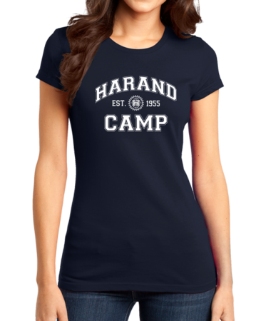 Harand Theatre Camp - Collegiate Style White Print Girly Navy Stock Model Front 1 Thumb