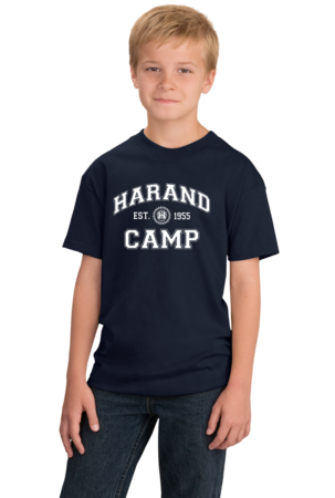 Harand Theatre Camp - Collegiate Style White Print Youth Navy Stock Model Front 1