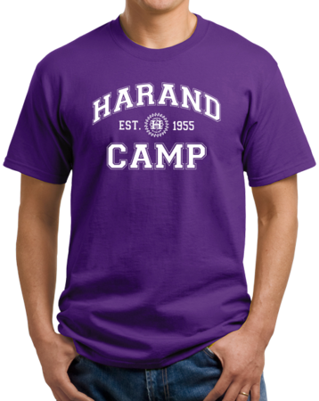 Harand Theatre Camp - Collegiate Style White Print Unisex Purple Stock Model Front 1 Thumb