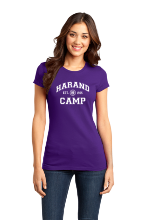 Harand Theatre Camp - Collegiate Style White Print Girly Purple Stock Model Front 1