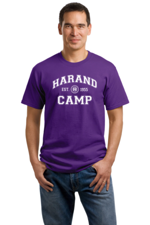 Harand Theatre Camp - Collegiate Style White Print Unisex Purple Stock Model Front 1