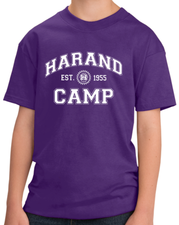 Harand Theatre Camp - Collegiate Style White Print Youth Purple Stock Model Front 1 Thumb