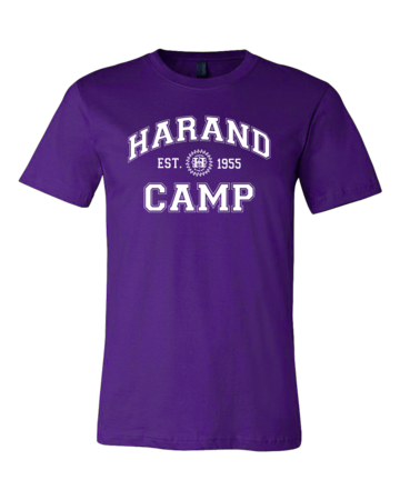 Harand Theatre Camp - Collegiate Style White Print Standard Purple Blank with Depth