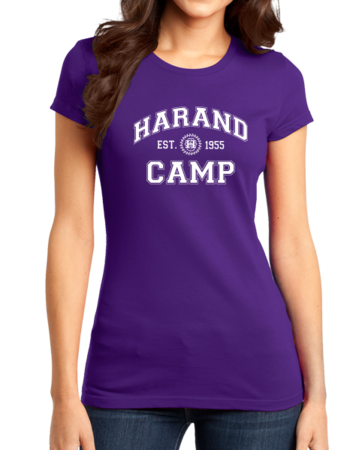 Harand Theatre Camp - Collegiate Style White Print Girly Purple Stock Model Front 1 Thumb