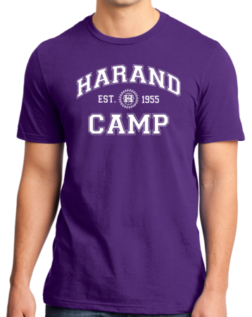 Harand Theatre Camp - Collegiate Style White Print Standard Purple Stock Model Front 1 Thumb
