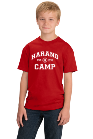 Harand Theatre Camp - Collegiate Style White Print Youth Red Stock Model Front 1