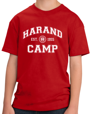 Harand Theatre Camp - Collegiate Style White Print Youth Red Stock Model Front 1 Thumb