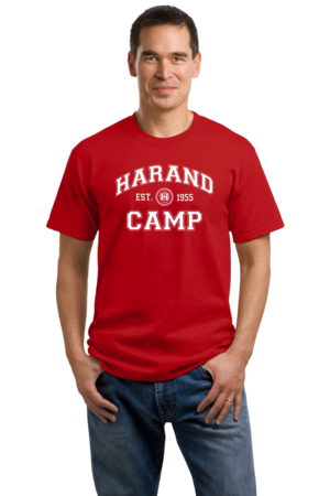 Harand Theatre Camp - Collegiate Style White Print Unisex Red Stock Model Front 1