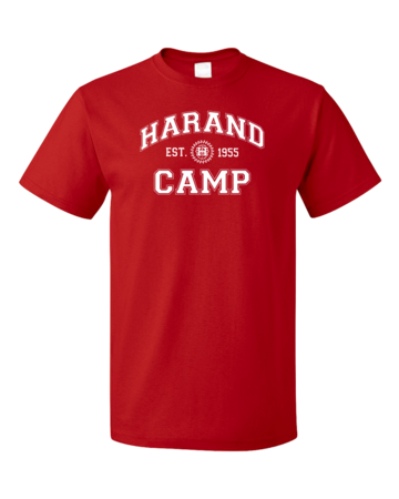 Harand Theatre Camp - Collegiate Style White Print Unisex Red Blank with Depth