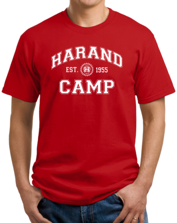 Harand Theatre Camp - Collegiate Style White Print Unisex Red Stock Model Front 1 Thumb