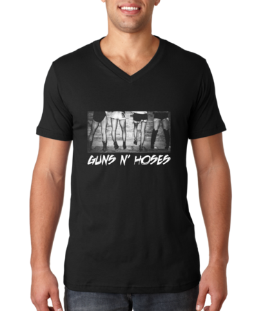 Guns N' Hoses V-neck Black Stock Model Front 1 Thumb