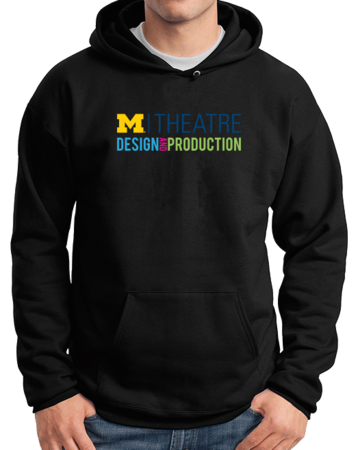 D&P Hoody Chest Print Pullover Hoodie Black Stock Model Front 1 Thumb