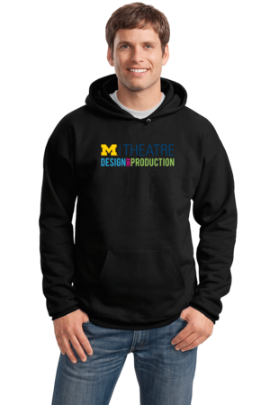 D&P Outline Chest Print Pullover Hoodie Black Stock Model Front 1