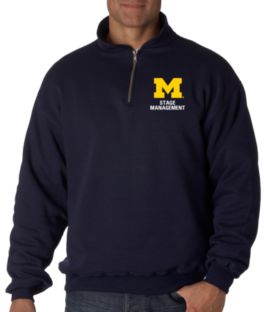 Stage Management Quarter Zip Navy Stock Model Front 1 Thumb