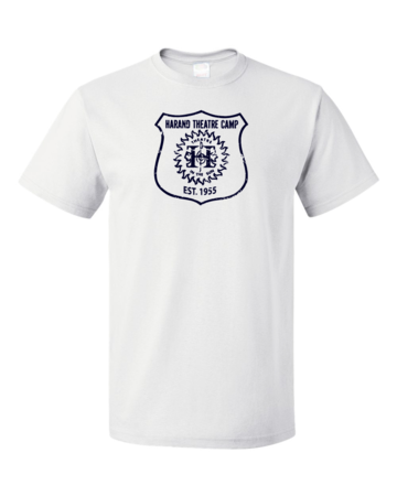 Harand Theatre Camp - Full Chest Navy Shield Logo Unisex White Blank with Depth