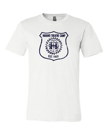 Harand Theatre Camp - Full Chest Navy Shield Logo Standard White Blank with Depth