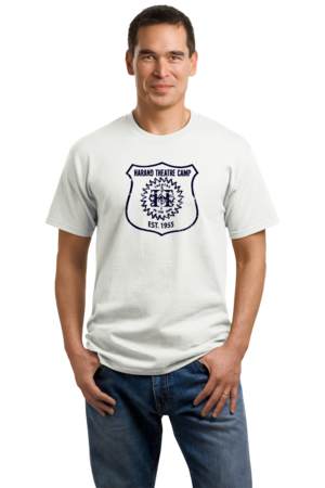 Harand Theatre Camp - Full Chest Navy Shield Logo Unisex White Stock Model Front 1
