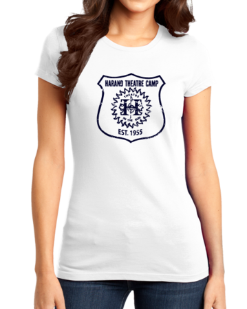 Harand Theatre Camp - Full Chest Navy Shield Logo Girly White Stock Model Front 1 Thumb