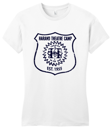 Harand Theatre Camp - Full Chest Navy Shield Logo Girly White Blank with Depth