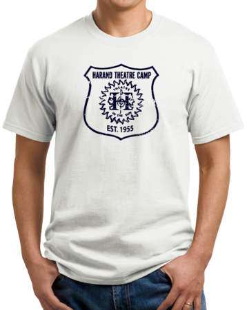 Harand Theatre Camp - Full Chest Navy Shield Logo Unisex White Stock Model Front 1 Thumb