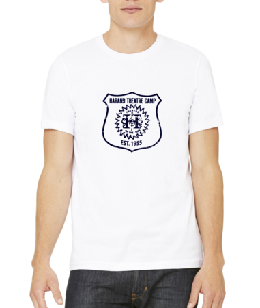 Harand Theatre Camp - Full Chest Navy Shield Logo Standard White Stock Model Front 1 Thumb