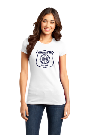Harand Theatre Camp - Full Chest Navy Shield Logo Girly White Stock Model Front 1