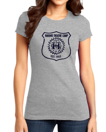 Harand Theatre Camp - Full Chest Navy Shield Logo Girly Grey Stock Model Front 1 Thumb