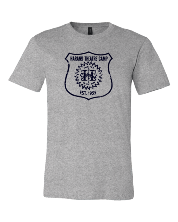 Harand Theatre Camp - Full Chest Navy Shield Logo Standard Grey Blank with Depth