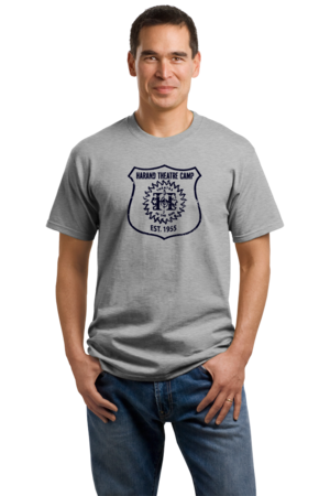 Harand Theatre Camp - Full Chest Navy Shield Logo Unisex Grey Stock Model Front 1